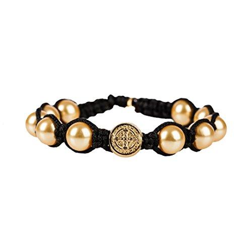 Bendición divina dorado perla simulada pulsera en negro