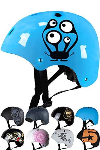 Skullcap® BMX Helm - Skaterhelm - Fahrradhelm - Herren Damen Jungs & Kinderhelm, hellblau, Gr. S (53 – 55 cm), Monster Blue