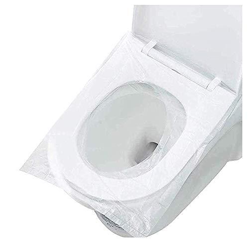 Protector WC Desechable Water Desechable Cubre Inodoro Funda Baño Cubierta Del Asiento para ir al Baño Cubiertas Desechables Para ei Asiento del Inodoro Fundas Protectoras 50 PCS Talla Universal