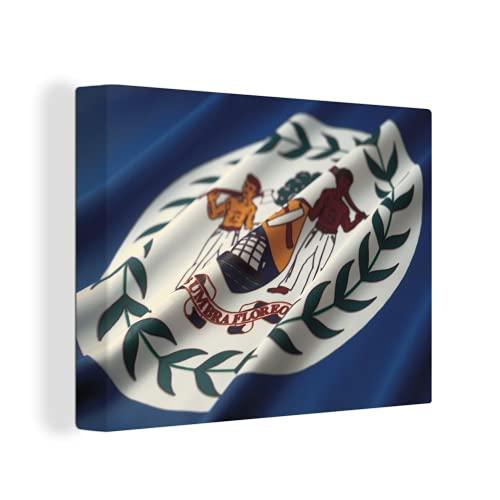 Leinwandbild - Die Flagge von Belize - 40x30 cm