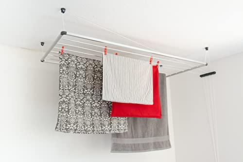 DRY-SMART Tendedero de techo de aluminio – Tendedero de techo – Tendedero de techo – para bañera, balcón, interior y exterior – ahorra espacio – fácil fijación al techo