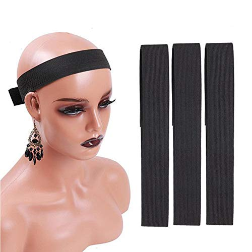 Urbeauty 3Pcs Wig Edge Elastic Band With Adjustvelcro, Edge Slayer For Salon 58Cm Edge Grip Band 3Cm Width Edge Laying Band For Baby Hair Adjustvelcro Headband For Closure Frontal Wigs Lay Down(Black)