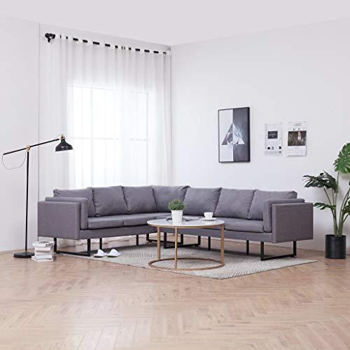 FESTNIGHT Sofá de Esquina Moderno Sofá Chaise Longue Sofá Cama de Tela Gris Claro 251 x 198 x 77 cm