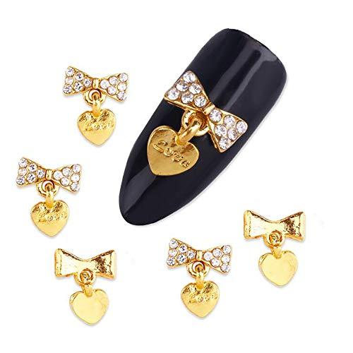 HIUHIU 10pcs Glitter 3D Golden Bows Nail Art Décorations avec Coeur Strass, Charms Ongles en Alliage Bijoux pour Ongles Outil