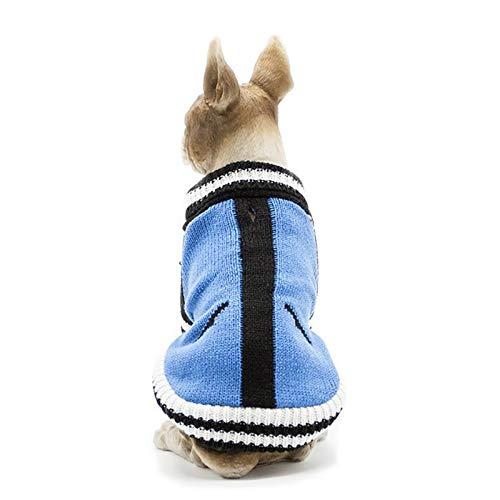 Abrigo para Mascotas, Ropa, Moda y Abrigo. Ropa de Cachorro de Mascotas para Mantenerse cálido en otoño e Invierno, suéteres de Punto, Ropa de Peluche, Perros pequeños (Color : Blue, Size : Small)