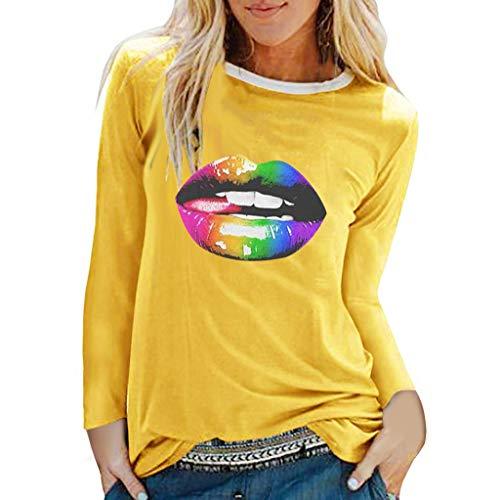 Tops/Blusas/Camisas/Camisetas para Mujer,MOMOXI Camisas Lisas Ocasionales para Mujer Blusa Suelta con Cuello En V Y Manga Larga