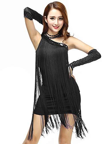 Grouptap Vestido de Falda de la Competencia de Las Mujeres del Baile de la Borla del Negro del Hombro Latino para el salón de Baile Salsa Tango Samba cha cha Rumba