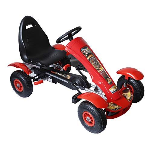 HOMCOM Coche de Pedales Go Kart Racing Deportivo con Asiento Ajustable Embrague y Freno para Niños 3-8 Años Carga 50kg Juguete Exterior 80x49x50cm Acero
