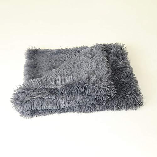 Yiwa knuffeldeken voor kleine en middelgrote honden, zacht en warm, dubbele luiers, pluche, deken voor kleine en middelgrote honden, slapen, donkergrijs, L: 100 x 75 cm