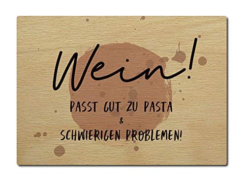 Interluxe briefkaart van hout wijn past goed bij pasta DIN A6 105x148 mm kaart echt hout wenskaart spreuk