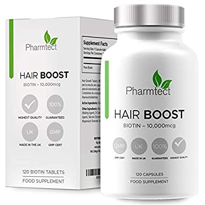 Biotin Hair Growth Supplement | 10,000mcg | High Potency Supplement Enriched with Pure Biotin | Supports Normal Skin & Hair Growth - 120 Vegan Tablets UK Made