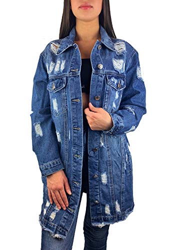 Worldclassca Damen Jeansjacke OVERSIEZED MIT Rissen Jeans Denim Jacket Vintage LANG Used WASH ÜBERGANGSJACKE Blogger DENIMWEAR Parka BLAU Denim Destroyed Mantel Cut Out Look XS-XL NEU (S, Blau-8059)