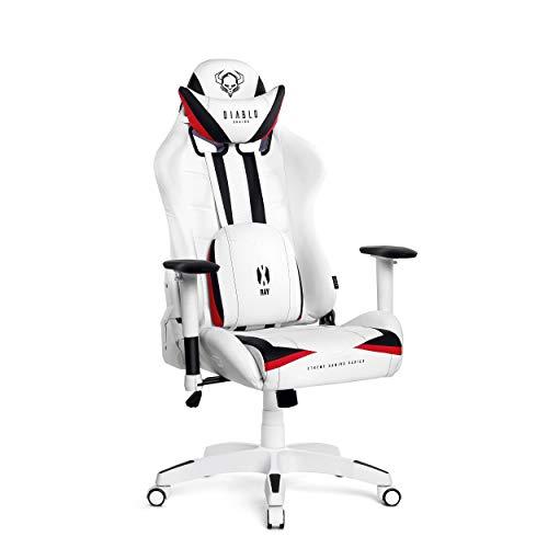 Diablo X-Ray Gaming Stuhl Bürostuhl Schreibtischstuhl 4D Armlehnen Ergonomisches Design Kunstleder Perforation Wippfunktion Belastbarkeit bis 150 kg (weiß-schwarz, Standard)