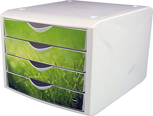 """Helit H6129650 - Schubladenbox \""""the chameleon\"""", 4 Schubladen, für Format DIN A4, springtime, 1 Stück"""