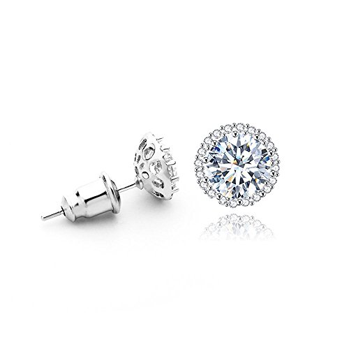 Platinum Plated 1CT Cubic Zirconia Round-Cut Halo Stud Earrings, CZ Fashion Studs for Girls, CZ earrings, Fashion Earrings