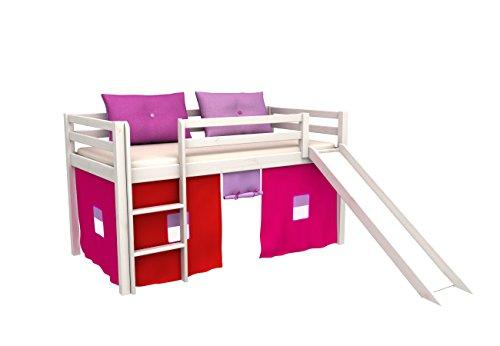 Cama de juego,cama para niños,de alta,cama con tobogan,cortinas,colchón,somier,muchos color
