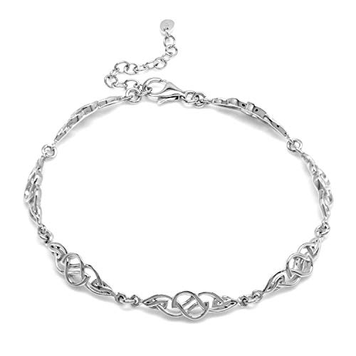 Silvershake 925 Sterling Silver Celtic Knot 7.5 plus 1.5 Inch Adjustable Bracelet