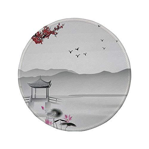 Rutschfreies Gummi-rundes Mauspad asiatisches Dekor Garten im japanischen asiatischen Stil mit Vogel und kleinem Pavillon über der Lotus-Seerose grau-rosa-rot 7.9