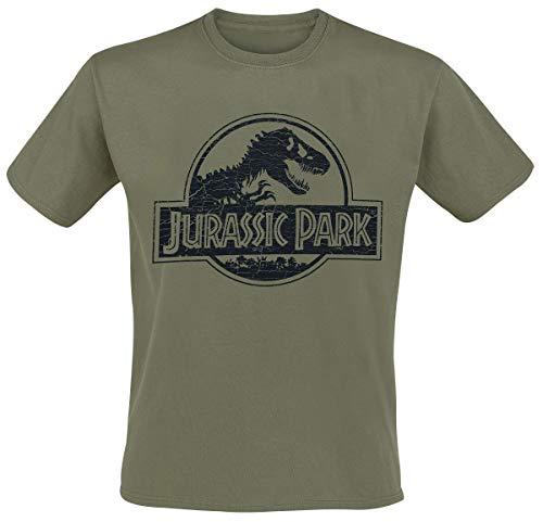 Jurassic Park Logo Uomo T-Shirt Verde L 100% Cotone Regular