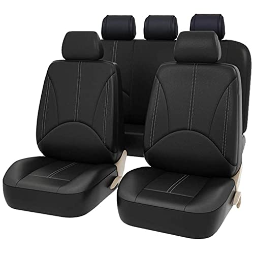 AUTO HIGH Car Seat Covers, Black-Full Set Car Seat Protector Premium Faux Leather Automotive Vehicle Seat Cover, Universal Fit for Auto Truck Van SUV