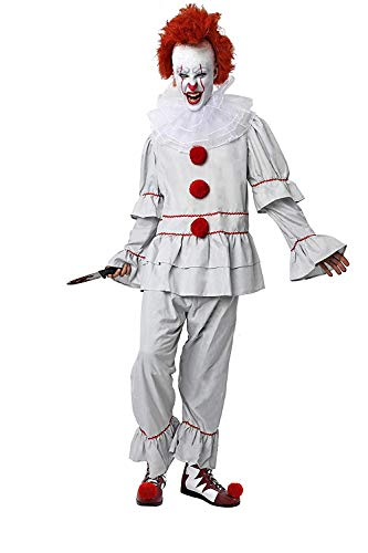 DM Disfraz de Payaso Diabólico/Asesino. Incluye: Camisa, Pantalón y Cuello. Talla Única de adulto.