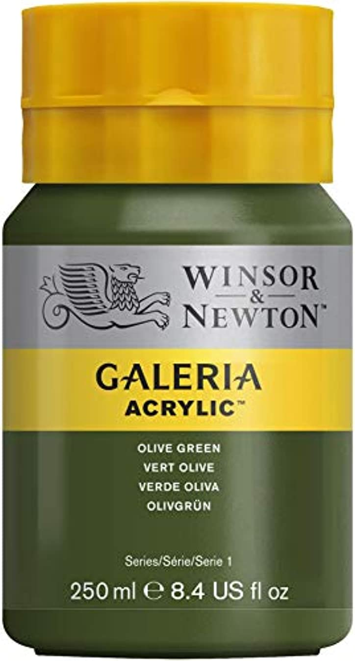 Winsor & Newton Series 1 250ml Bottle Galeria Acrylic Colour with Nozzle Cap - Olive Green