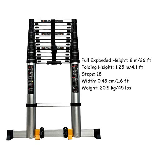 FF Foldable Aluminum Extension Ladder, 16ft/17ft/20ft/23ft/26ft Extra Tall Engineering Telescoping Ladder with Support Bar, Load 330lbs (Size : 8m/26ft)