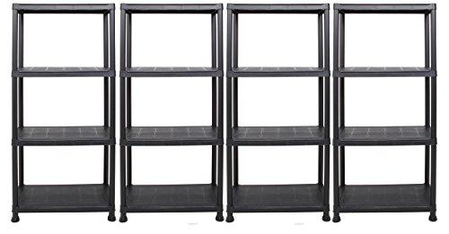 Ondis24 Steckregal 60 x 30 x 135 (H) cm, 4 Böden, Kunststoffregal, Schwerlastregal, bis zu 80 kg, Regal, Lagerregal (4 Stück)