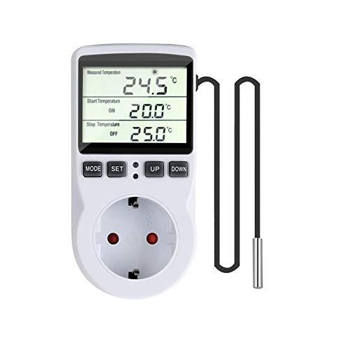 Gobesty Termostato Controlador de Temperatura, Controlador de Temperatura Digital, 230 V Termostato de Enchufe con Temporizador y Sonda para Invernadero, Acuario Refrigeración Calefacción
