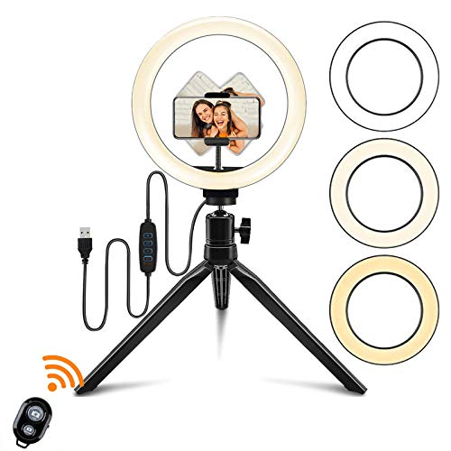 """12"""" Ring Light Tabletop, Selfie Ring Light with Tripod Stand and Phone Holder for Makeup & YouTube Live Stream, LED Desk Ringlight 3 Colors with Remote, Compatible with iPhone & Android Phone"""
