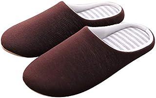 YANGLAN Unisex winter casual slippers striped non-slip fluffy skin house slippers soft soft slippers non-slip shoes Household slippers (Color : E, Size : (42~43))