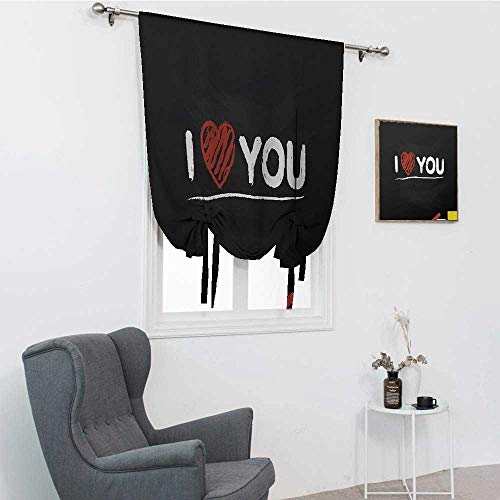 """GugeABC I Love You - Cortinas cortas, ilustración de una pizarra con texto en inglés """"I Love You"""", diseño de corazón, multicolor"""