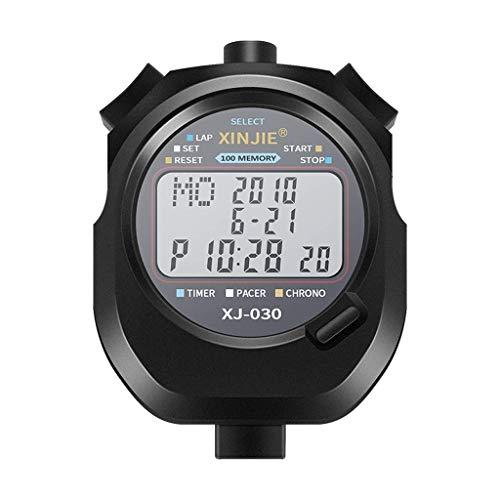 Operación precisa de una tecla, pantalla grande cl Temporizador de cronómetro deportivo Temporizador de una sola vuelta Split Split Strape con reloj de alarma que incluye batería impermeable de pantal