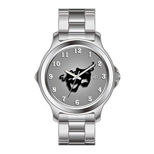 FDC Uhren Damen Mode Japanische Quarz Datum Edelstahl Armband Uhr Komödie und Tragy Theater Masken