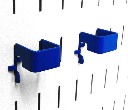 Wall Control Pegboard 1in x 1in C-Bracket Slotted Metal Pegboard Hook for Wall Control Pegboard and Slotted Tool Board – Blue