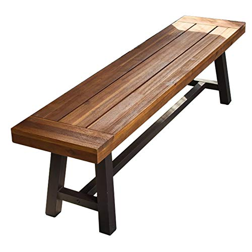 Outdoor terrace benches indoor dining chairs, Weather-resistant corrosion-resistant solid wood slatted seat gap bench, Modern and simple 2-3 seat courtyard porch restaurant decorative bench