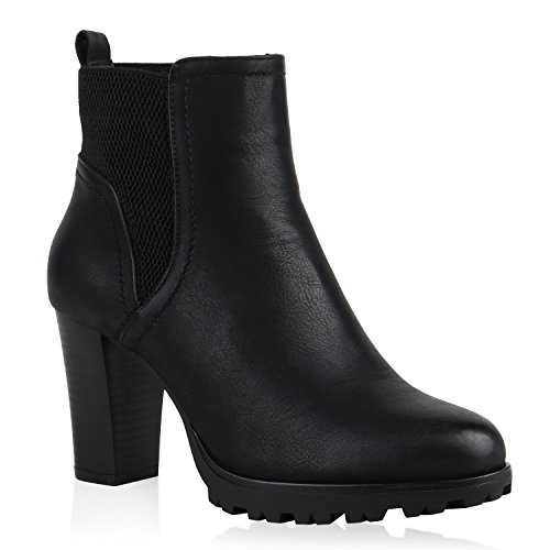 Gefütterte Chelsea Boots Damen Block Absatz Stiefeletten 123530 Schwarz Bernice 41 Flandell