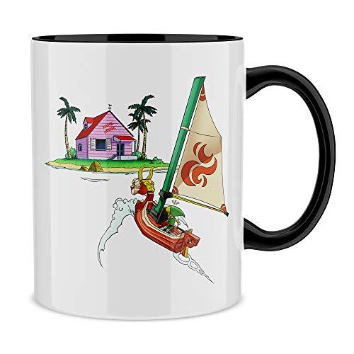 Okiwoki Mug avec Anse et intérieur de Couleur (Noir) - Parodie Dragon Ball Z - Zelda - Link et la Kame House - La découverte d'une Nouvelle île. (Mug de qualité supérieure - imprimé en France)