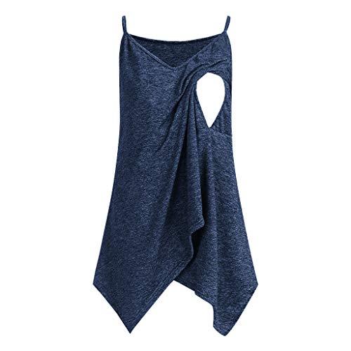 Mitlfuny Para Mujer Camiseta Premam y de Lactancia Cintura Imperio Mujeres Embarazadas Nusring Maternidad Correas sin Mangas Lrregularity Sólido Tops