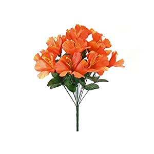 Orange Hibiscus Bush Artificial Flowers 18″ Bouquet 14–Artificial Plants & Flowers-Artificial Flowers–Wedding Decorations-Flowers-Poinsettia Flowers Artificial-Flower Wall