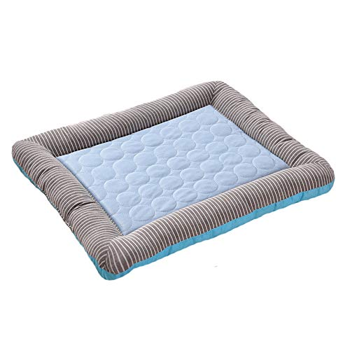 Kühlmatte Hundebett Pet Cooling Pad Hund Sommer Schlafmatte Kühl Katzen Auflage-Bett Kühldecke Ice Silk Puppy Schlafen Matratze Blau M