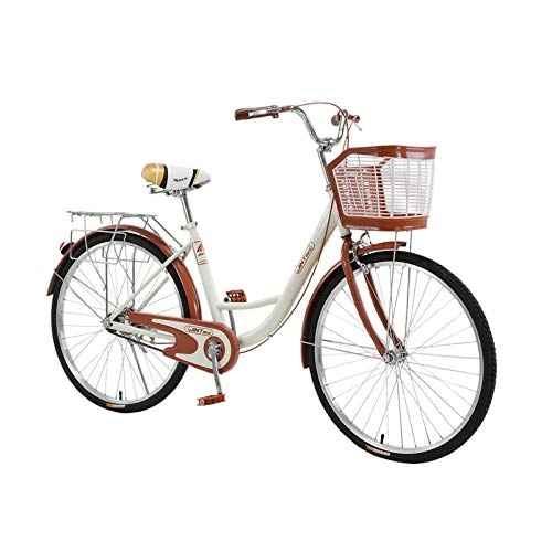 Womens Beach Cruiser Bike-26 Inch Unisex Classic Iron Bicycle with Basket Retro Bicycle Unique Art Deco Scooter,Road Bike,Seaside Travel Bicycle,Comfortable Commuter Bicycle,US Shipping