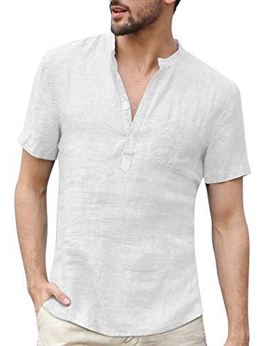 Yitrend Herren Leinenhemd Stehkragen Baumwolle Shirt Kurzarm Sommer Freizeithemd Kurzarmhemd Casual Leicht Freizeit Shirts Weiß XL