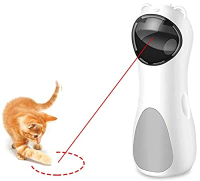 MULY Cat Laser Toy Automatic, Interactive Laser Cat Toys Rotating Catch Training, Placing High, 5 Random Pattern, Automatic On/Off and Silent, 3 Speed Modes, USB Charging Cable/Battery Powered