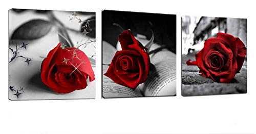 Canvas Wall Art Red Rose Flowers on Gray Books Pictures Painting -12' x 12' x 3 Panels Canvas Prints Framed for Home Bathroom Bedroom Wall Decor
