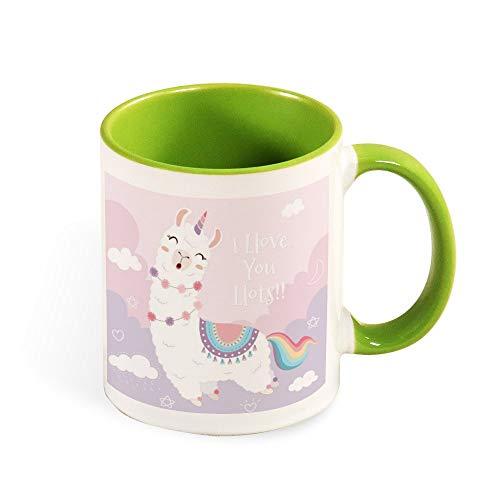Grappige Koffie Thee Mok Alpaca Gekleurde Melk Cup met Hand Ik hou van U Veel Gedrukt Ontwerp Vakantie Verjaardagscadeau voor Vriend Familie Kinderen Lover Colleague 11oz l5yt873josgr 11oz groen-4