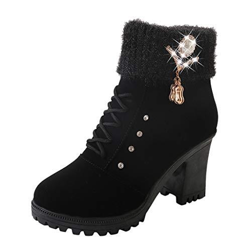 Stiefel Damen Trichterabsatz Reißverschluss Kurzschaft Stiefeletten mit Perlen Glitzersteine und Schnürsenkel Warme Schuhe Einfarbiges Schnürstiefel (39 EU, Schwarz)