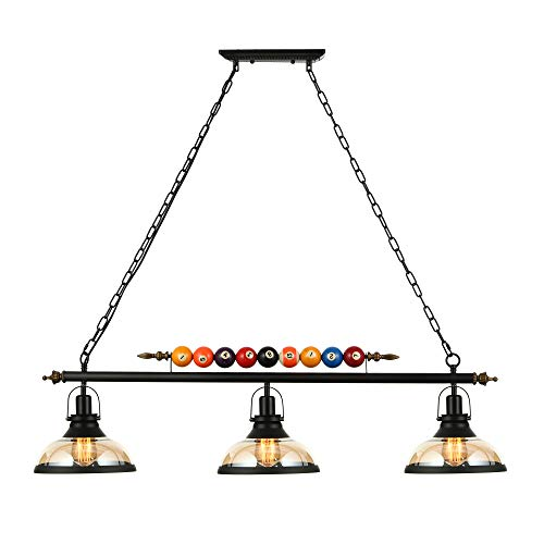 LAKIQ 3 Lights Island Light Hanging Pool Table Light Fixture Pendant Light with Clear Glass Shade Special Billiard Ball Decoration Chandelier for Gaming Room Living Room Kitchen