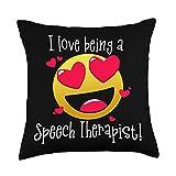 SPEECH LANGUAGE PATHOLOGIST SLP Memes I LOVE BEING A SPEECH THERAPIST Heart Emoji Thank You Meme Throw Pillow, 18x18, Multicolor