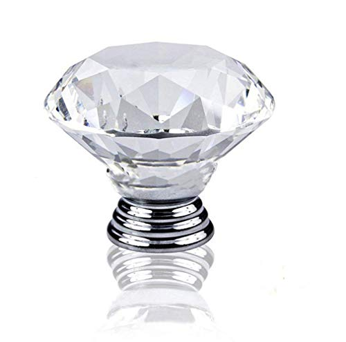 Alait 10 Pcs Crystal Glass Cabinet Knobs 30mm Diamond Shape for Drawer Kitchen Cabinets Dresser Cupboard Wardrobe Pulls Handles
